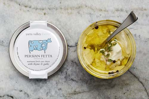 Product Food Photography | Melbourne Photography | Overhead shot of fetta cheese in jar