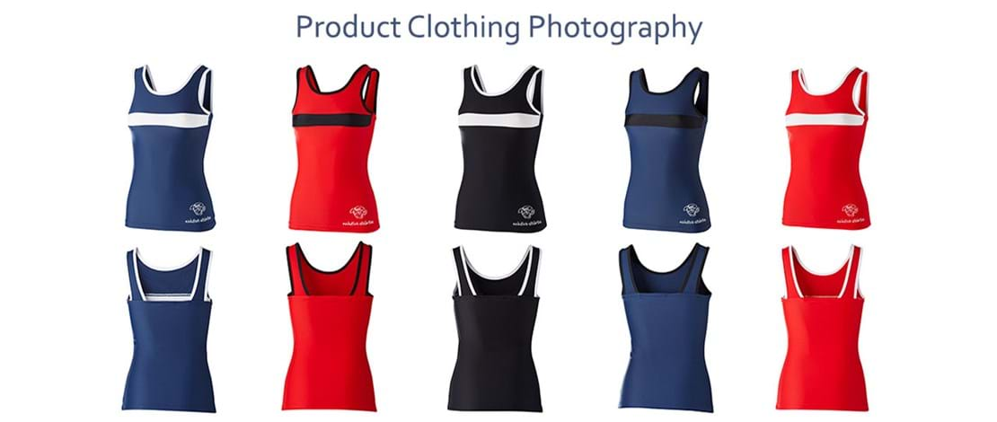 Clothing Product Photography | Melbourne Photography | Rows of women's sport singlets in blue, red and black on white background