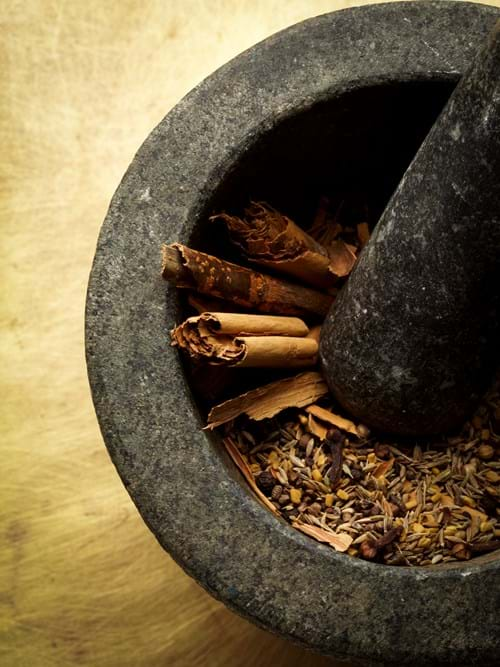 Product Food Photography | Melbourne Photography | Close up of cinnamon sticks in morter and pestle