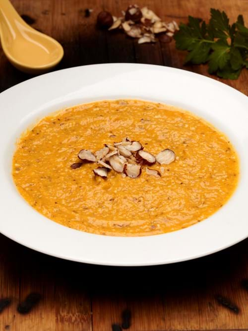 Product Food Photography | Melbourne Photography | Pumpkin and hazelnut Soup in white bowl