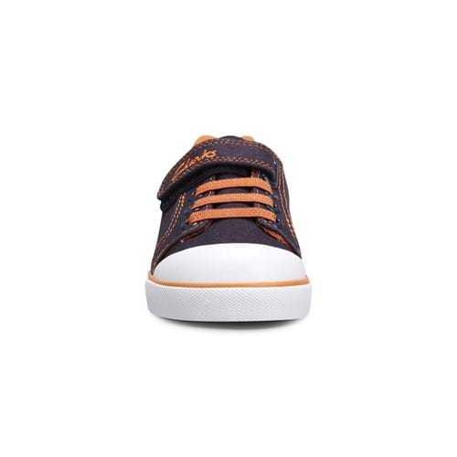 Product Footwear and Shoes Photography | Melbourne Photography | Childrens blue and orange shoe with laces front shot on white background