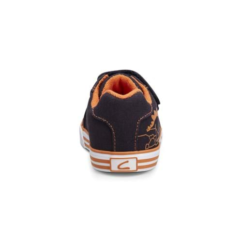 Product Footwear and Shoes Photography | Melbourne Photography | Childrens blue and orange shoe with laces back shot on white background