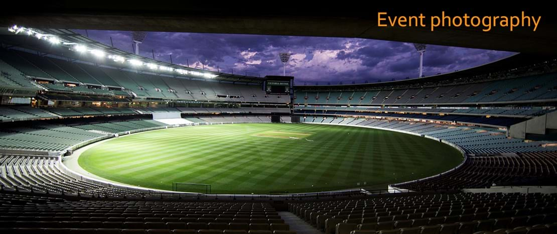 Event Photography | Melbourne Photography | Landscape image of AFL stadium and grounds with night sky in background