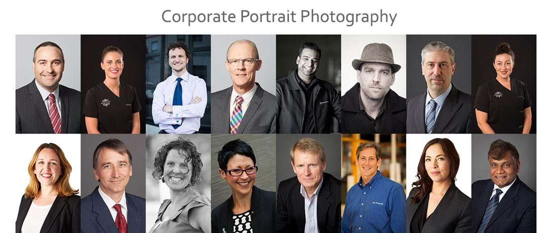 Corporate Portrait Photography | Melbourne Photography | Rows of corporate head shots on white, grey and black backgrounds