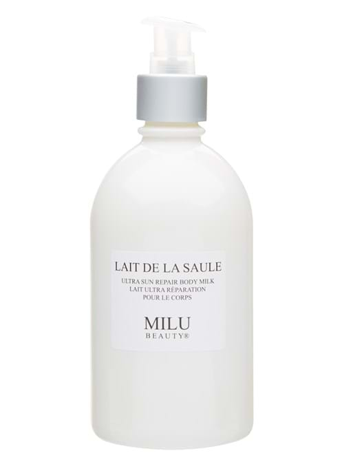 Product Cosmetics Photography | Melbourne Photography | Close up of bottle of Milu body milk on white background