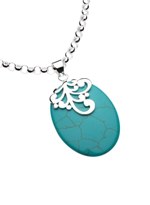 Product Jewellery Photography | Melbourne Photography | Close up of oval turquoise stone on silver necklace on white background