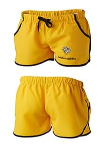 Product Clothing Photography | Melbourne Photography | Ghosted unisex yellow sports shorts front and back on white background