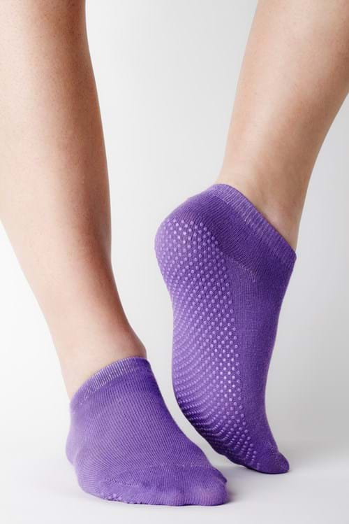 Product Footwear Photography | Melbourne Photography | Womens purple ankle sock on model on white background