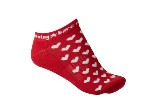 Product Footwear Photography | Melbourne Photography | Womens red ankle sock with love hearts on white background