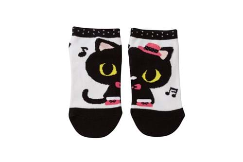 Product Footwear Photography | Melbourne Photography | Pair of childrens socks with cat image on white background