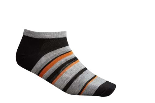 Product Footwear Photography | Melbourne Photography | Womens black and grey striped ankle sock on white background
