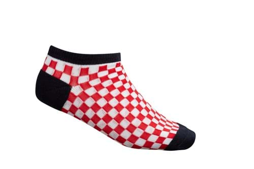 Product Footwear Photography | Melbourne Photography | Womens red checkered ankle sock on white background