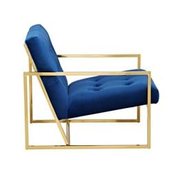 Product Furniture Photography | Melbourne Photography | Blue velvet and gold armchair angle shot on white background