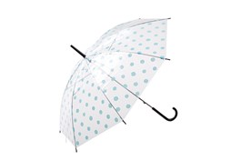 Product Clothing Accessories Photography | Melbourne Photography | Close up of opened blue spooted umbrella on white background